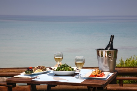 lunch table for two  at restaurant by the sea Stock Photo
