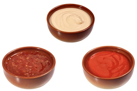 mix of sauces isolated on a white background
