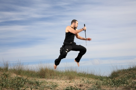 young man from special forces exercising outdoor motion blur photo