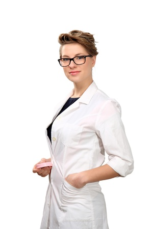 young female pharmacist isolated on a white background