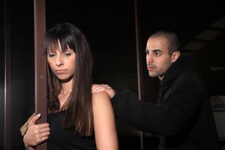 braking: young couple expression of braking up scene