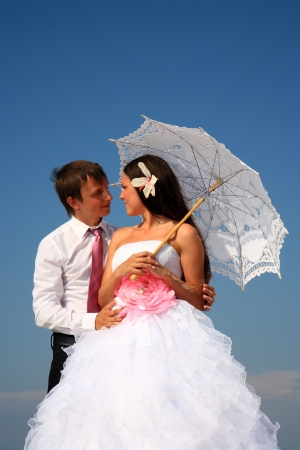 portrait of a beautiful bride and groom Stock Photo
