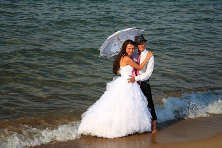 portrait of a beautiful bride and groom photo