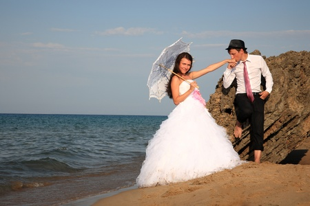 portarit: portarit of a bride and groom at the beach