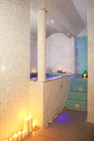 hydromassage: indoor hydro-massage beautiful decorated with candles