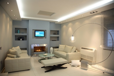 interior of a luxury apartment with living room