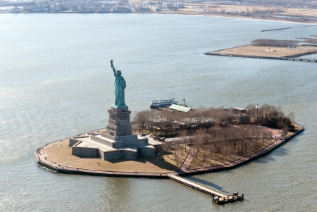 aerial view of the statue of liberty photo