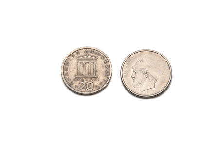 greek coins: greek drachma coins isolated on a white background