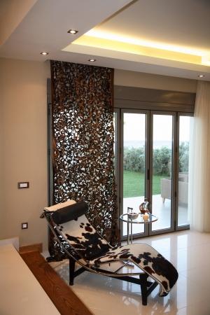 beautiful big chair with animal print interior of a luxury villa Stock Photo