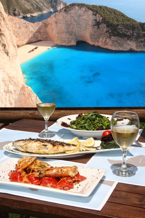 healthy seafood  for two by the sea Stock Photo