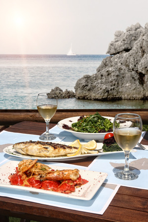 healthy seafood  for two by the sea photo