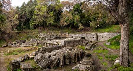 repo: ruins of an ancient temple in Corfu island in Greece Stock Photo