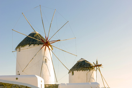 traditional windmill: old traditional windmill in mykonos island,Greece Stock Photo