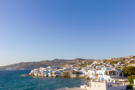 the little venice: beautiful traditional houses by the sea in mykonos island,Greece