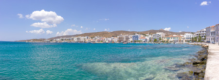 panoramic view of Tinos island town by the port ,Greece Stock Photo