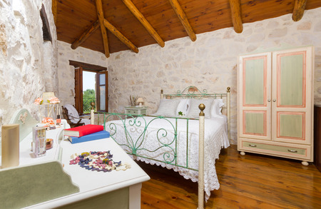 luxury apartment: interior of a luxury traditional stone apartment