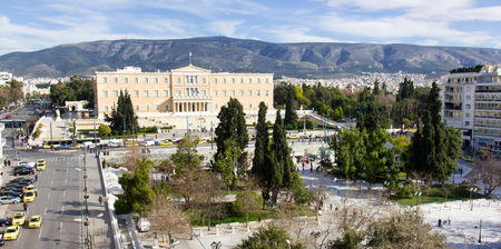 syntagma: the Greek  parliament and the syntagma square in a busy day,Athens May 11th 2014