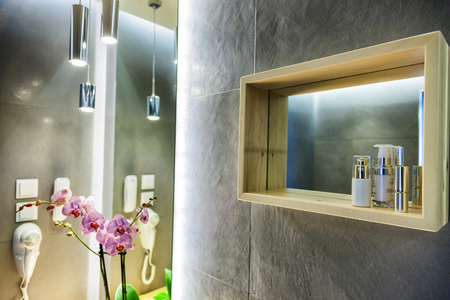 luxury room: bathroom interior of a luxury room in a hotel