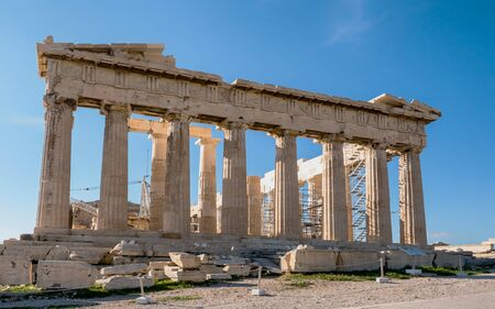 greek temple: part of Parthenon an ancient Greek temple in Acropolis hill