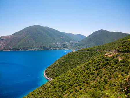 ionio: panoramic view of Ithaca island in Greece