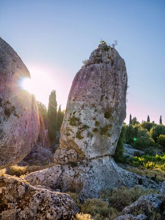 ionio: Natural old rock made by nature in  Ithaca island in Greece