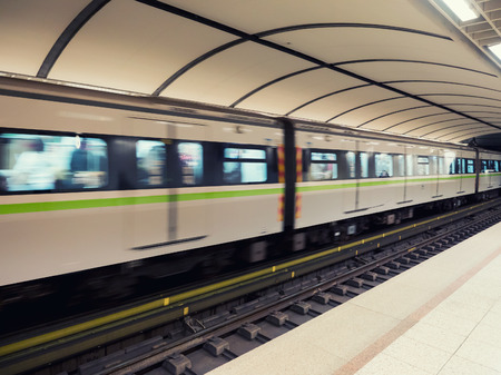 train passing the station of metro in Athens,Greece Editorial