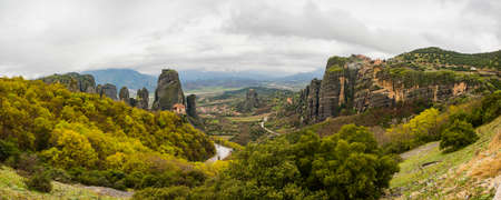 kalambaka: landscape of meteora with monastery on top of the mountain in north Greece
