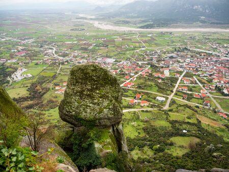 kalambaka: panoramic view of town Kalambaka as seen from meteora mountain in north Greece