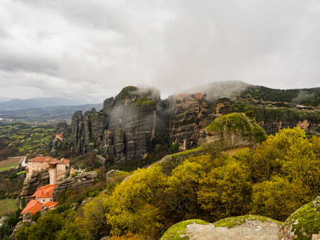 kalambaka: landscape of the unique  meteora with monastery on top of the mountain in north Greece Stock Photo