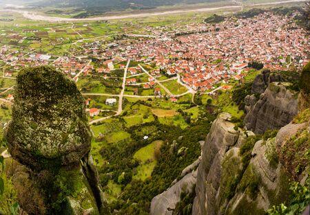 kalabaka: the view of kalabaka town under the rocks of  meteora mountain in north Greece Stock Photo