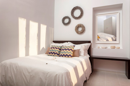 luxury apartment: bedroom interior with decoration of a luxury apartment