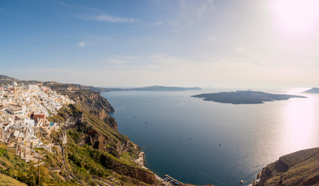 cyclades: panoramic view of Santorini island in cyclades,Greece