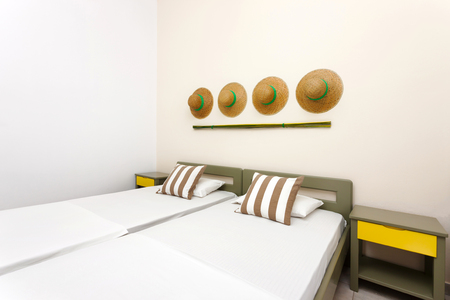 modern decorated bedroom interior as part of an apartment
