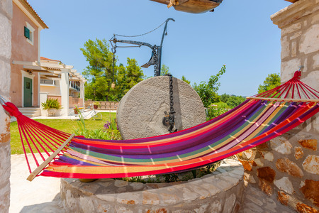 furniture part: luxury villa exterior with hammock and a beautiful decoration