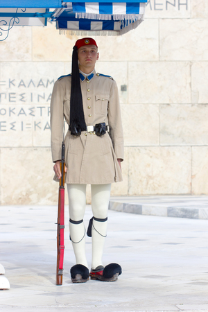 tsolias: ATHENS,GREECE - MAY 11,2016:The Greek Presidential guard called Tsolias dressed in traditional uniform at the monument in front of the Greek parliament Editorial