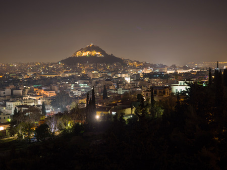 Panoramic view of Athens city and Lecabetus hill at night