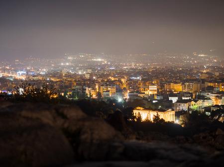iluminated: Panoramic view of Athens city lighten at night