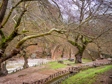 thessaly: Arched stone bridge of Pyli in a rainy day,Thessaly, Greece