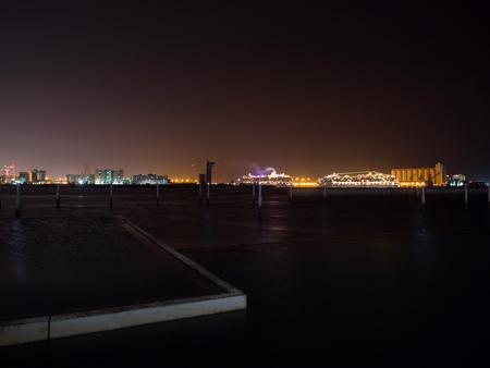 Panoramic view of Abu Dhabi city luminated at night