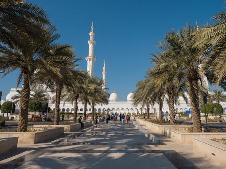 ABU DHABI,UAE - DECEMBER, 2017:The beautiful Sheikh Zayed Grand Mosque in Abu Dhabi