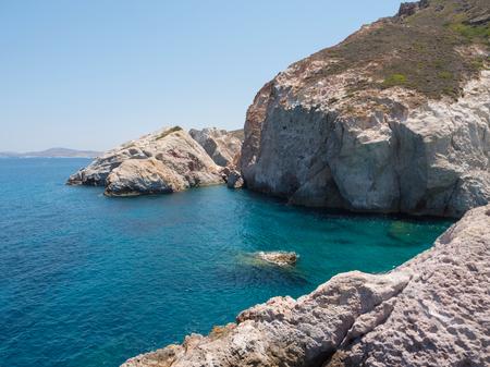Landscape of a beautiful rocky beach in Milos island, Greece Stock fotó