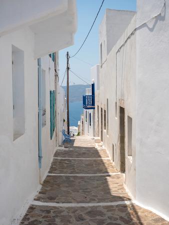 Traditional village Plaka in Milos island, Cyclades, Greece