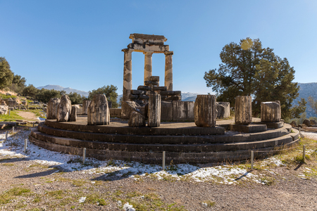 Ruins of Athena pronaia temple in Delphi archaeological site in Greece