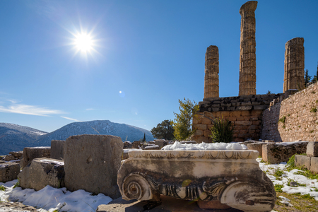 Ruins of the Apollo temple in Delphi archaeological site in Greece