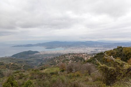 Panoramic view of Volos City in Magnesia, Greece