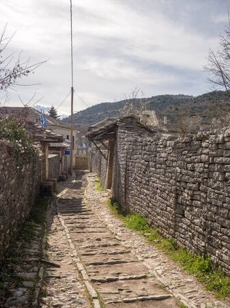 Traditional village Monodendri with a Monastery in Vikos gorge, Epirus - Greece