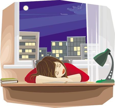 ersch�pft: Schlafende M�dchen mit Bleistift, sitzen am Tisch mit dem Kopf, zur Festlegung von Hand