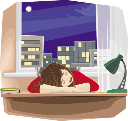 study room: Sleeping girl with pencil, sitting by the table with her head, laying down on hand Illustration