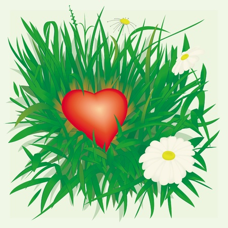Lonely heart, fallen and forgotten in grass