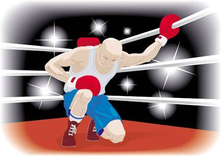Huge boxer in knock-down Illustration